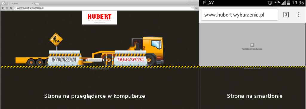 Strona www.hubert-wyburzenia.pl w wersji na przeglądarce desktopowej i na smarfona.