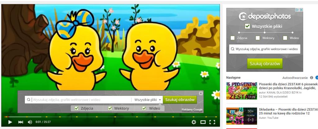Małe kombo: reklama graficzna w YouTube; żółte kreseczki na pasku to także zaznaczeni kolejnych reklam video in-stream; baner po prawej stronie to reklama graficzna w sieci YT Te kaczuszki to jedna z odchłani Internetu do których zajrzałyśmy w poszukiwaniu dobrych przykładów ;)