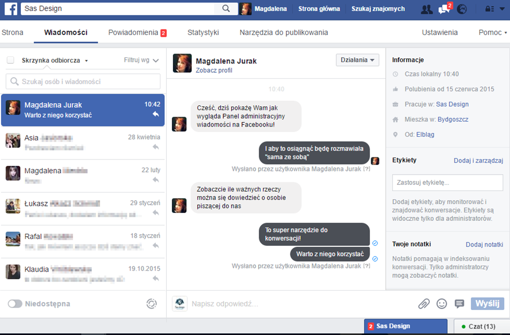 obsługa klienta przez facebooka