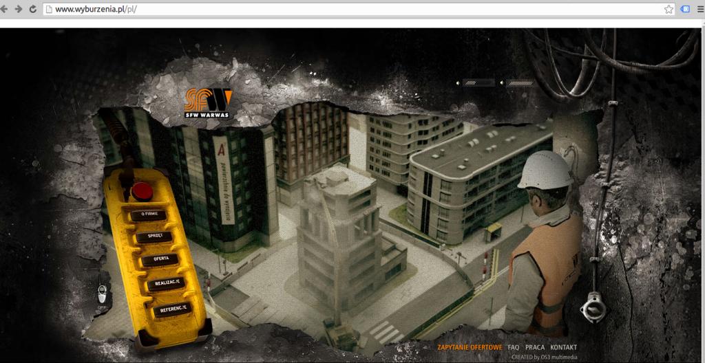 Strona firmy wyburzającej budynki. Jakie było zdziwienie, kiedy domyśliłam się, że to jednak nie gra. O ładowaniu się strony już nawet nie będę wspominać. http://www.wyburzenia.pl/
